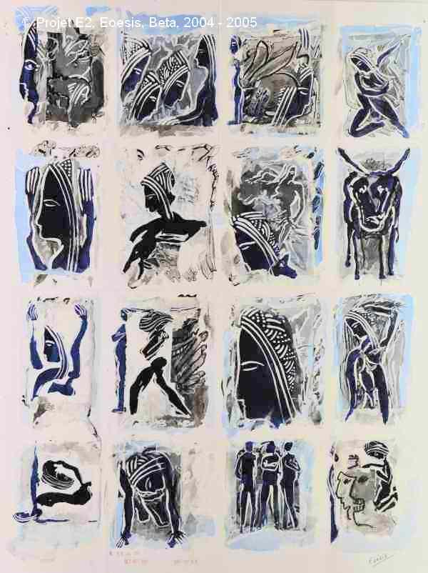 Projet E2 – Personnag'E, β. (Bêta) 9. 2004. Acrylique sur papier. 65 x 50 cm. (Project E2 – Character'E, β. (Beta) 9. 2004. Acrylic on paper, 25.5 x 19.6 inches.)