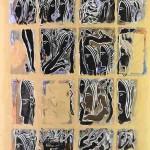 Projet E2 – Personnag'E, β. (Bêta) 26. 2004. Acrylique sur papier. 65 x 50 cm. (Project E2 – Character'E, β. (Beta) 26. 2004. Acrylic on paper, 25.5 x 19.6 inches.)