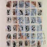 Projet E2 – Personnag'E, β. (Bêta) 56. 2005. Acrylique sur papier. 65 x 50 cm. (Project E2 – Character'E, β. (Beta) 56. 2005. Acrylic on paper, 25.5 x 19.6 inches.)