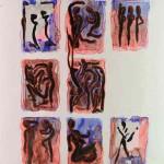 Projet E2 – Personnag'E, β. (Bêta) 80. 2006. Acrylique sur papier. 65 x 50 cm. (Project E2 – Character'E, β. (Beta) 80. 2006. Acrylic on paper, 25.5 x 19.6 inches.)