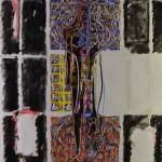 Projet E2 – Personnag'E, β. (Bêta) 84. « L'Homme divisé et renversé ». 2006-2008. Acrylique sur papier. 65 x 50 cm. (Project E2 – Character'E, β. (Beta) 84. «Study for the divided and opposite man». 2006-2008. Acrylic on paper, 25.5 x 19.6 inches.)
