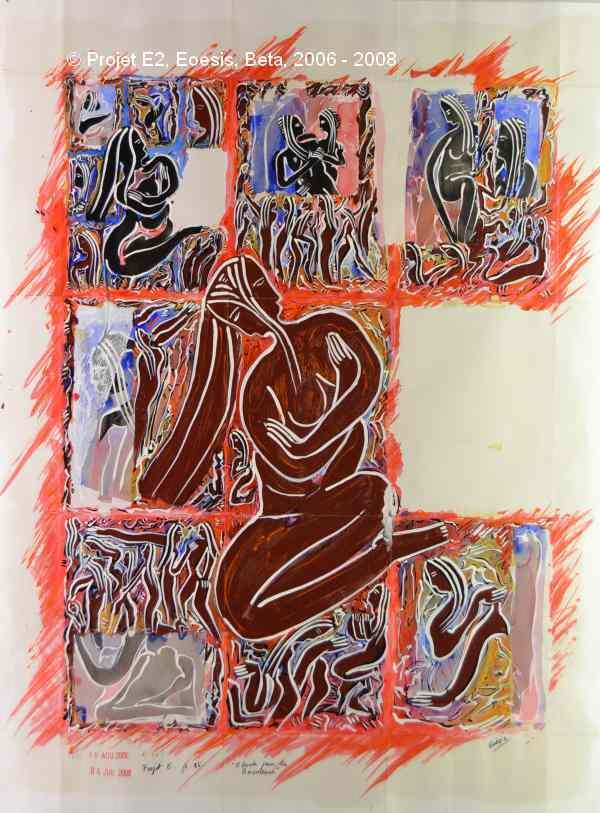 Projet E2 – Personnag'E, β. (Bêta) 85. « Etude pour la Boudeuse ». 2006-2008. Acrylique sur papier. 65 x 50 cm. (Project E2 – Character'E, β. (Beta) 85. «Study for the Sulky». 2006-2008. Acrylic on paper, 25.5 x 19.6 inches.)