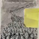 Projet E3 – Personnag'E, β. (Bêta) 492. 02. 2012. Acrylique sur papier. 65 x 50 cm. (Project E3 – Character'E, β. (Beta) 492. 02. 2012. Acrylic on paper, 25.5 x 19.6 inches.)