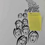 Projet E3 – Personnag'E, β. (Bêta) 494. 01. 2012. Acrylique sur papier. 65 x 50 cm. (Project E3 – Character'E, β. (Beta) 494. 01. 2012. Acrylic on paper, 25.5 x 19.6 inches.)
