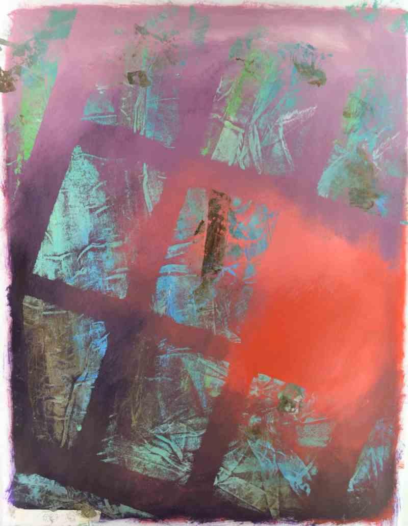 Projet E3 – Paysag'E, β. (Bêta) 527. 02. 2012. Acrylique sur papier. 65 x 50 cm. (Project E3 – Landscap'E, β. (Beta) 527. 02. 2012. Acrylic on paper, 25.5 x 19.6 inches.)