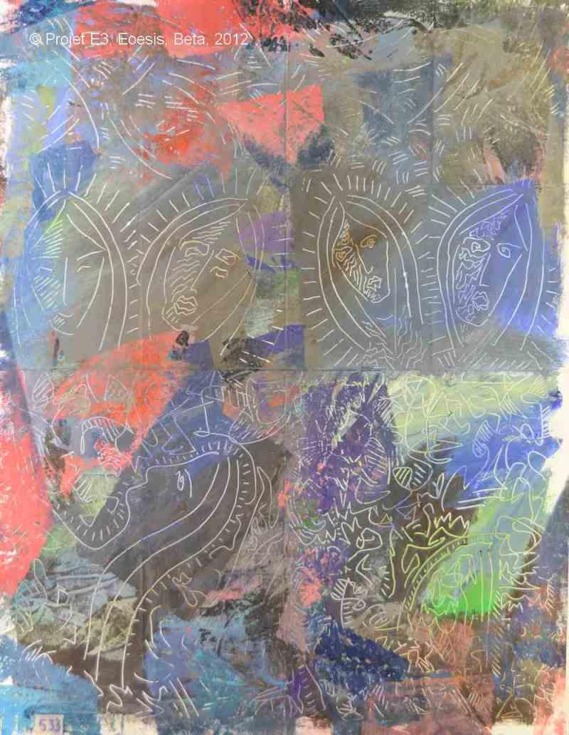 Projet E3 – Paysag'E, β. (Bêta) 533. 02. 2012. Acrylique sur papier. 65 x 50 cm. (Project E3 – Landscap'E, β. (Beta) 533. 02. 2012. Acrylic on paper, 25.5 x 19.6 inches.)