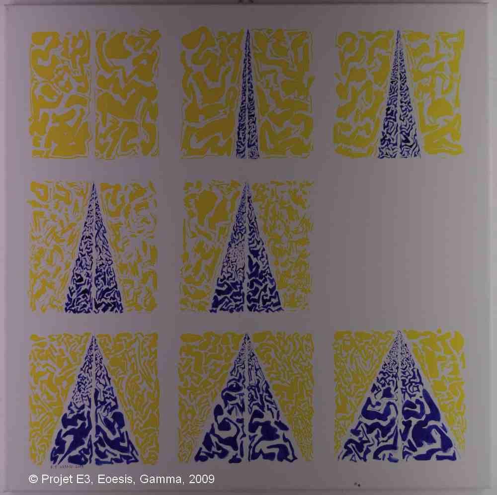 Projet E3 – Film'E, γ. (Gamma) 83. 2009. Acrylique sur toile. 60 x 60 cm. (Project E3 – Film'E, γ. (Gamma) 83. 2009. Acrylic on canvas, 23.6 x 23.6 inches.)
