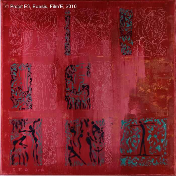 Projet E3 – Film'E, γ. (Gamma) 91. 2009. Acrylique sur toile. 60 x 60 cm. (Project E3 – Film'E, γ. (Gamma) 91. 2009. Acrylic on canvas, 23.6 x 23.6 inches.)
