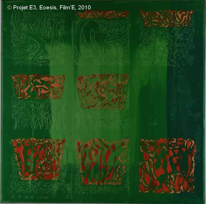 Projet E3 – Film'E, γ. (Gamma) 93. 2009. Acrylique sur toile. 60 x 60 cm. (Project E3 – Film'E, γ. (Gamma) 93. 2009. Acrylic on canvas, 23.6 x 23.6 inches.)