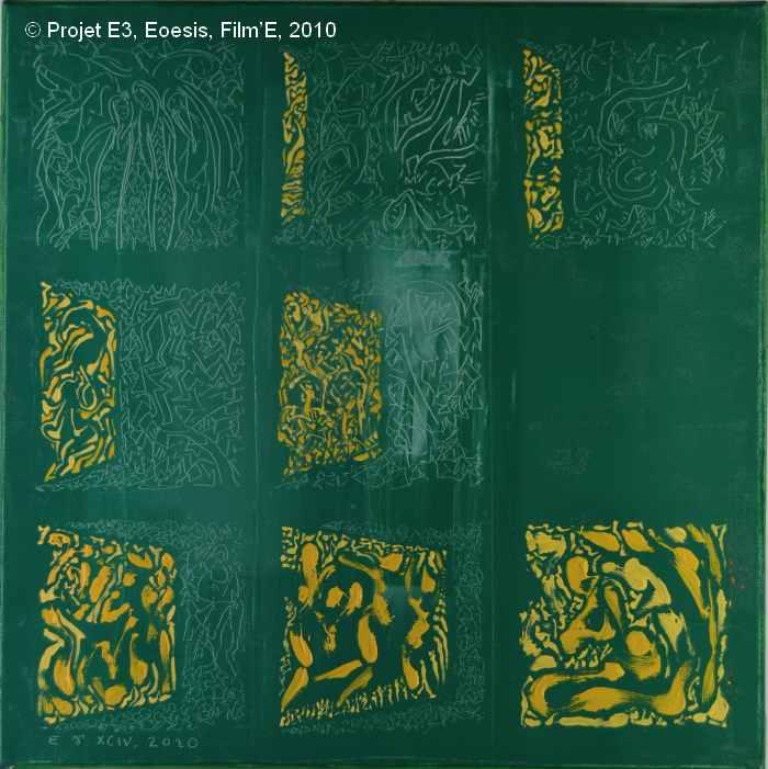 Projet E3 – Film'E, γ. (Gamma) 94. 2009. Acrylique sur toile. 60 x 60 cm. (Project E3 – Film'E, γ. (Gamma) 94. 2009. Acrylic on canvas, 23.6 x 23.6 inches.)