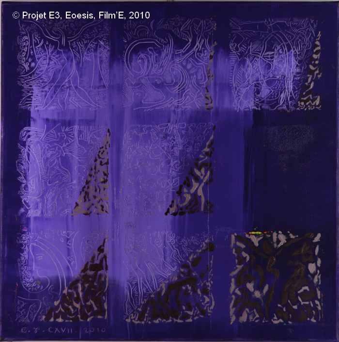 Projet E3 – Film'E, γ. (Gamma) 117. 2009. Acrylique sur toile. 60 x 60 cm. (Project E3 – Film'E, γ. (Gamma) 117. 2009. Acrylic on canvas, 23.6 x 23.6 inches.)