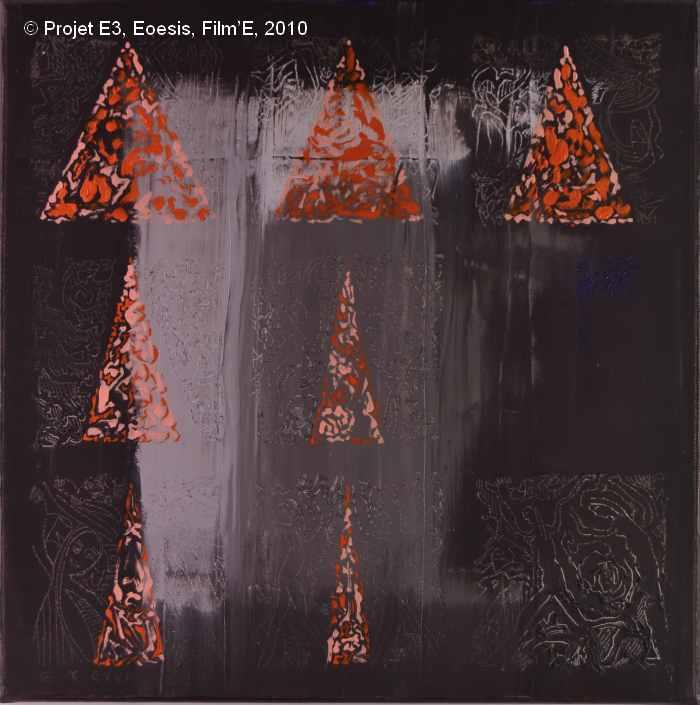 Projet E3 – Film'E, γ. (Gamma) 118. 2009. Acrylique sur toile. 60 x 60 cm. (Project E3 – Film'E, γ. (Gamma) 118. 2009. Acrylic on canvas, 23.6 x 23.6 inches.)