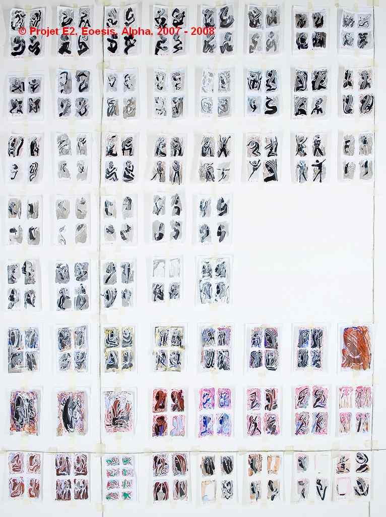 Dimitri Dimitriadès. Projet E2 – α. (Alpha). 1 - 64. Sep. 2004 – Sep. 2006. Acrylique sur papier. 58 dessins de 10 x 15 cm. (Project E2 – α. (Alpha). Sep. 2004 – Sep. 2006. Acrylic on paper, 58 drawings of 3.9 x 5.9 inches.