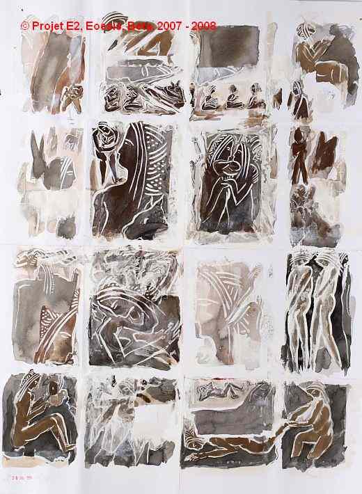 Dimitri Dimitriadès. Projet E2 – β. (Beta) 28. Jul. 2004 – Jul. 2005. Acrylique sur papier. 65 x 50 cm. (Project E2 – β. (Beta) 28. Jul. 2004 – Jul. 2005. Acrylic on paper, 25.5 x 19.6 inches.