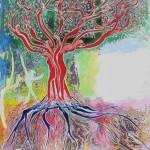 E2 – γ. (Gamma) XLIII. « L'Arbre » , Août 2006 – Mars 2009, Acrylique sur toile. (The Tree, Acrylic on canvas), 65 x 81 cm.