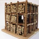 Dimitri Dimitriadès. Projet E – δ. Projet E'mbûche, 2008, bois divers, 14 cm. de côté. (Projet E – δ. Project Ambush, 2008, Various wood, 5.5 inches, side)