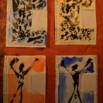 Projet E3 – Projet «E'nvoi», étapes 5 & 6: peindre les fonds. 2013. (Project «E'Card», steps 5 & 6 : painting the background. 2013.)