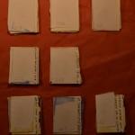Projet E3 – Projet «E'nvoi», étape 7: plier les supports. 2013. (Project «E'Card», step 7 : folding the supports. 2013.)