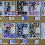 Projet E3 – Projet «E'nvoi», étapes 8, 9 & 10: peindre les huit petites images, vernir et photographier. 2013. (Project «E'Card», steps 8, 9 & 10 : painting the 8 small images, varnishing and photography. 2013.)