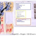 Projet E3 – Projet «E'nvoi», étapes 11 & 12: collage des adresses et des timbres. 2013. (Project «E'Card», steps 11 & 12 : sticking the addresses and the stamps. 2013.)