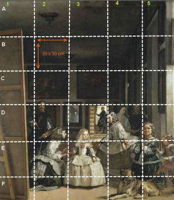 Les Ménines , Division du tableau 1. Las Méninas Division of the picture 1.