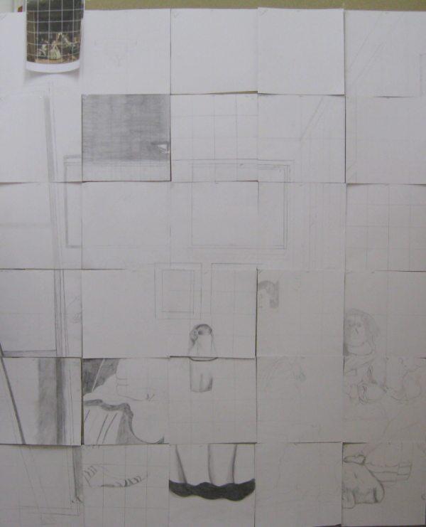 Les Ménines , Dessin sur papier. Las Méninas Drawing on paper