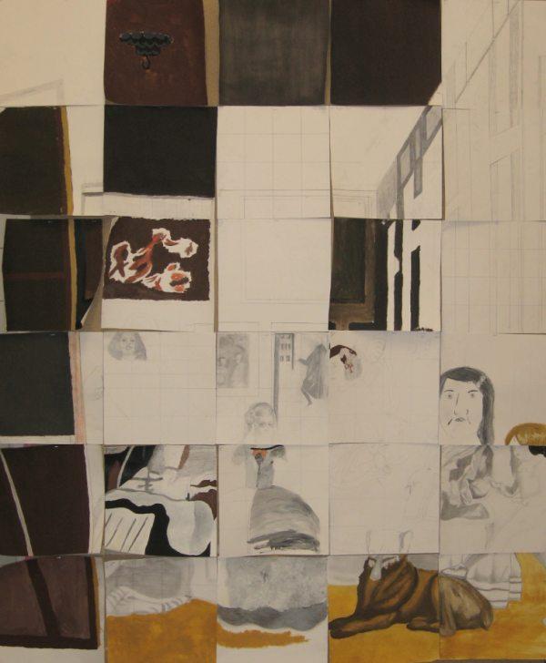 Les Ménines , Peinture sur papier. Las Méninas Painting on paper
